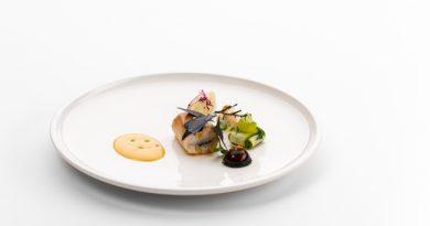 Kelemen Roland, a Hunguest Hotel Aqua Sol szakácsának tányérja a Bocuse d'Or magyarországi selejtezőjén 2020.